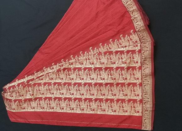 Red BaluChari weave inspired saree
