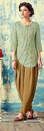 Green and Yellow Modern Patiala Silk Hand Embroidered Suit (M)