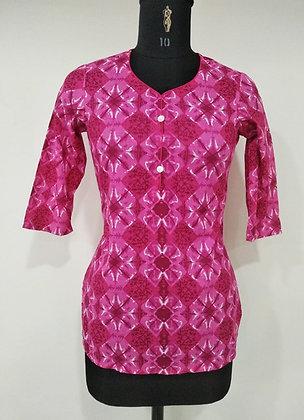 Pink Printed Cotton Kurti