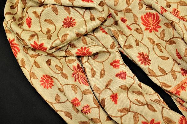 Cream Pashmina Shawl w/ Orange embroidery