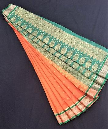 Bomkai Weave inspired Orange Silk