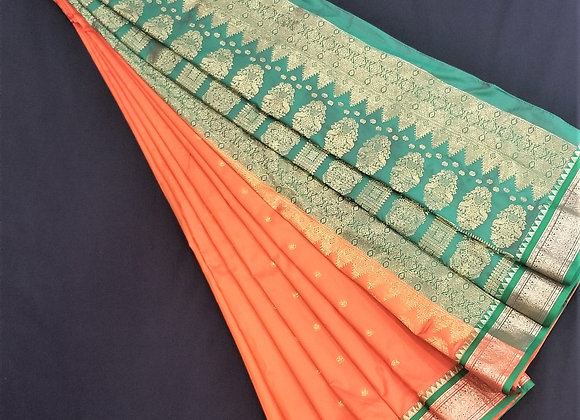Bomkai Weave inspired Orange Silk