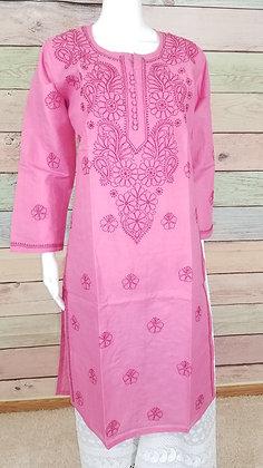 Pink Embroidered Cotton Kurti