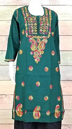 Mungia Green Cotton Kurti w/ Embroidery