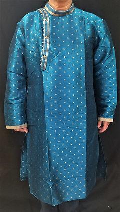 Blue Silk kurta w/ self design ( L )