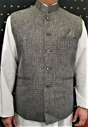 Gray self design Men Vest