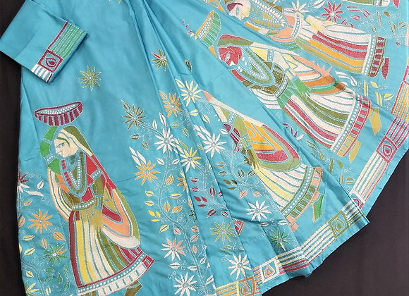 Light Blue Banglori Silk Full embroidery Kantha work