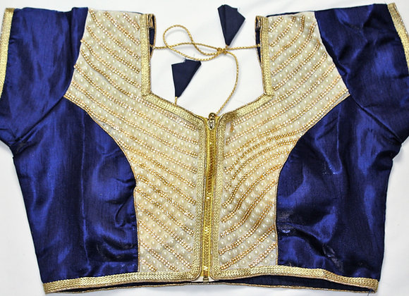 Blue Gold Blouse w/ Fancy Bead work in Middle (38'')
