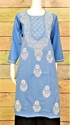Light Blue Cotton Kurti w/ Embroidery