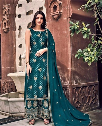 Sea Green beautiful embroidered Pallazo Suit(S)