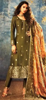 Mehndi Silk Salwar Kameez