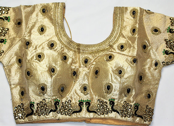 GLITZY GOLDEN BLOUSE W/ PEACOCK EMBROIDERY (36'')