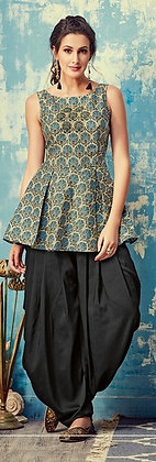 Teal and Black Modern Patiala Silk Hand Embroidered Suit (M)