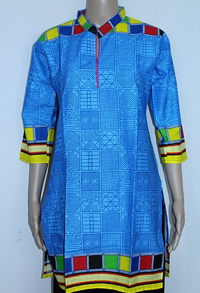 BLUE PRINTED KURTI W/ CHECK DESIGN COLORFUL BORDER (M)