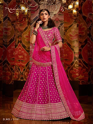 Beautiful Pinkish-Red embroidered Semi-Silk Lehnga