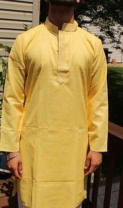 Light Yellow Silk Kurta ( M 40'' )