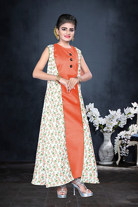 Young Girls Indo western Orange two piece full length gown (S)