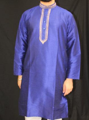 Blue silk kurta ( L )