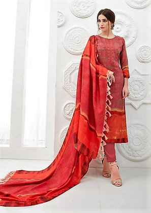 Pashmina inspired Redish Orange embroidered Suit