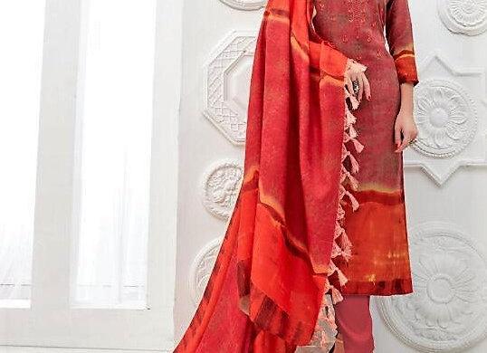 Pashmina inspired Redish Orange embroidered Suit