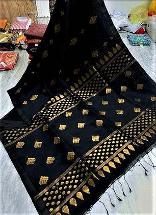 Black handloom cotton linen saree