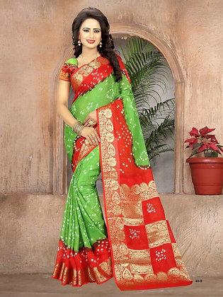 Green and Red crepe silk sari