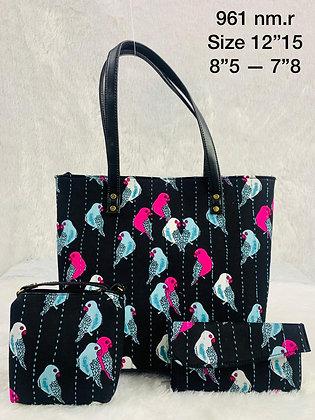 Black Printed Fabric Tote Shoulder Bag Set