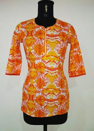 OrangeAndYellow Printed Cotton Kurti