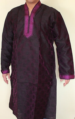 Black and Purple Kurta for Men w/ Embroidery (L 42'')