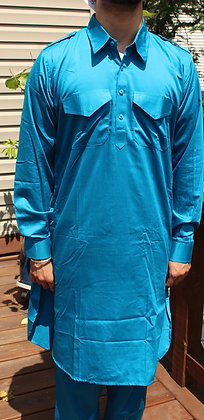 Blue Soft Cotton Pathani Suit ( M 40'' )