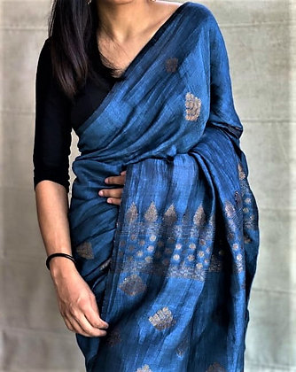 Blue handloom cotton linen saree