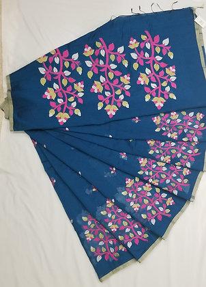 Wedgewood Blue Jamdani Sari