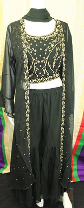 Dark Green Crop-Top Sharara Suit