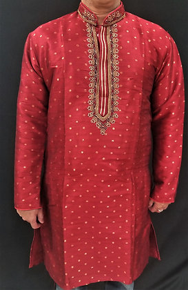 Red Silk kurta w/ self design, embroidery ( L )