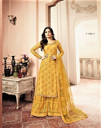 Yellow Embroidered Sharrara Suit