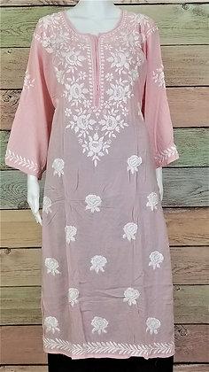 Pink Cotton Kurti w/ Embroidery