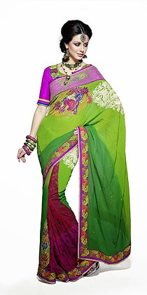 Green Maroon Silk Base Half-n-Half Designer Saree
