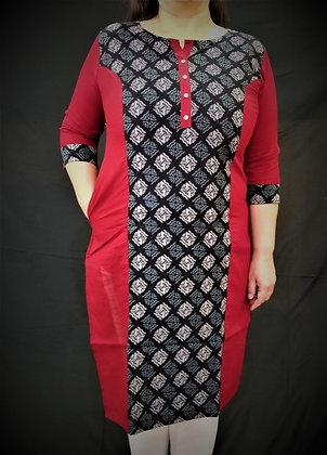 Red and Black Cotton Print Kurti