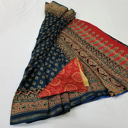 Ajrakh print Blue and Orange chanderi handloom saree
