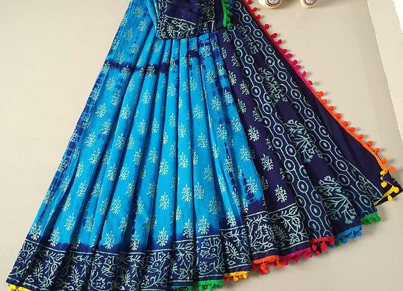 Blue and Black cotton Mulmul Sari