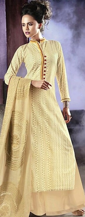 Cream Print Cotton Palazzo Suit (L, M) | Dillihaart Indian clothes