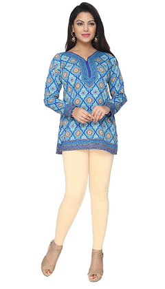 Blue crepe full sleeve short kurti