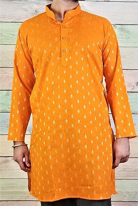 Orange Readymade Cotton Kurta