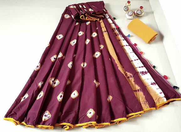 Brown cotton Mulmul Sari