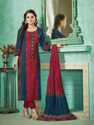 BLUE & RED RAW SILK STITCHED CHURIDAAR SALWAR KAMEEZ ( XL )