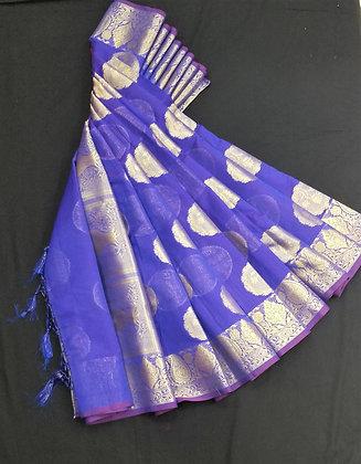 Mahesmati Swarna Silk Royal Blue Saree with Golden Zari