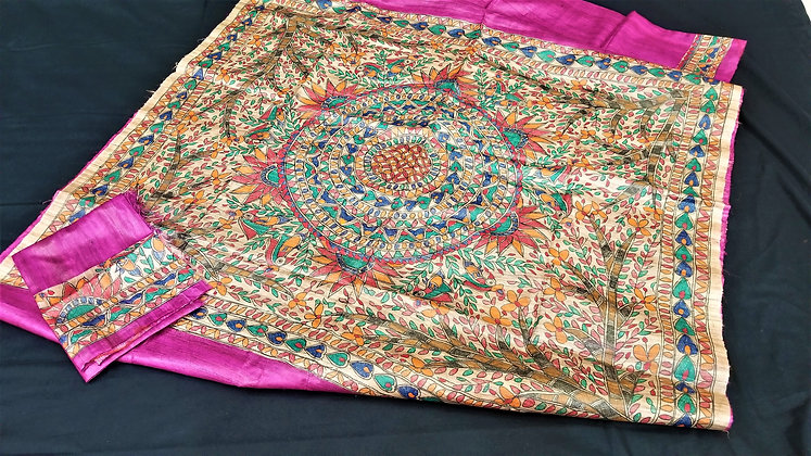 Madhubani handloom Purple silk saree