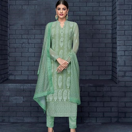 Green Embroidered Lakhnavi Straight Suit (M/L)