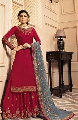 Red satin silk 2-Bottom Suit