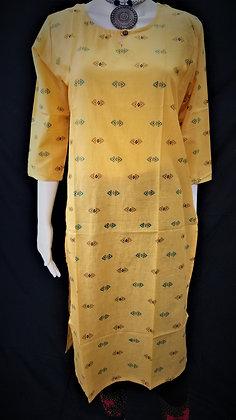 Yellow Small print Cotton Kurti